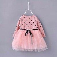 1 4y Princess Dress For Girls Kids Clothes Autumn Toddler Long Sleeve Polka Dot Baby Dress