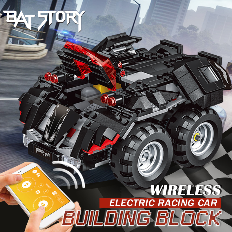Remote Control Batmobile Model Racing Car Set Building Blocks Sports Car Electric Game Stunt Interactive Toys Kids Birthday Gift