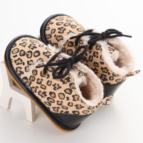 Newborn Baby Boy Girl Crib Shoes Winter Fur Snow Boots Warm Shoes Booties Casual Leopard Baby Shoes 0-18M