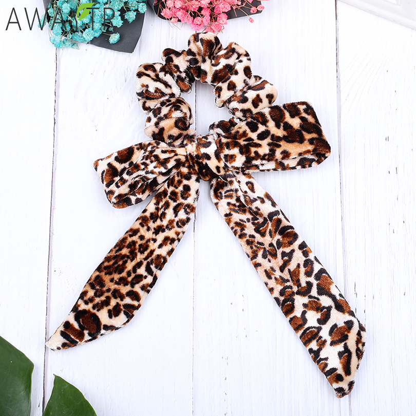 Sexy Leopard Bow Lady Hair Ties Elastic Velvet Women   Headwear   Printing Rubber Hair Bands Ponytail Scrunchy Hair Accessories