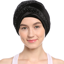 Babalet Women's Soft  Gold Velvet Rhinestones Crystal Turban Indian Cap Muslim Islamic Long Headscarf Dubai Kaftan Wedding Hijab