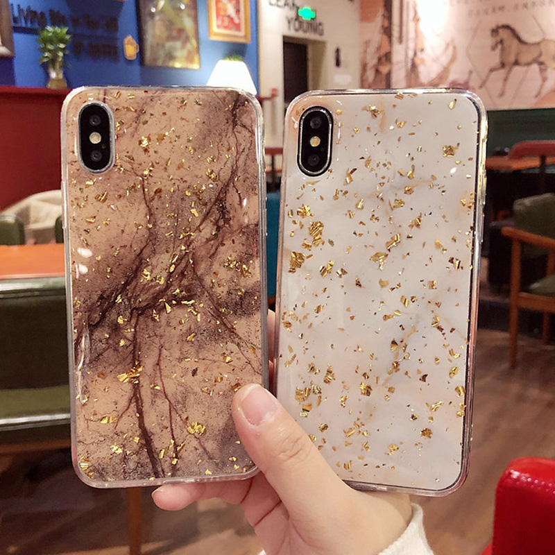 Luxury Gold Foil Bling Marble Phone Cases For iPhone X 10 Cover Hole Soft TPU Cover For iPhone 7 8 6 6s Plus Glitter Case Coque (1)