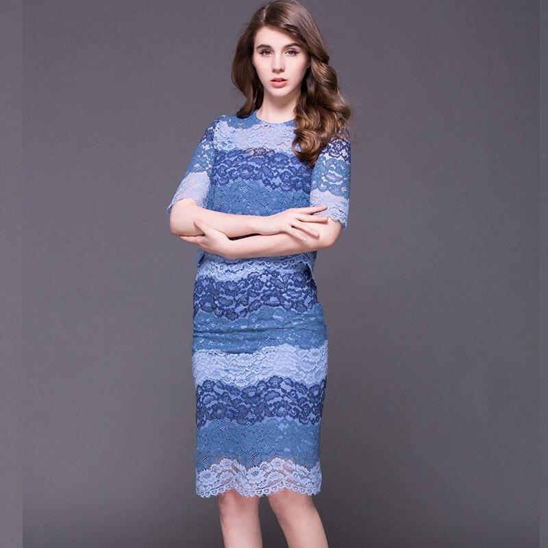 2016 Summer Autumn Brand Lace Hollow Out Skirt Suit Women 2 Piece Set Women Long Sleeve