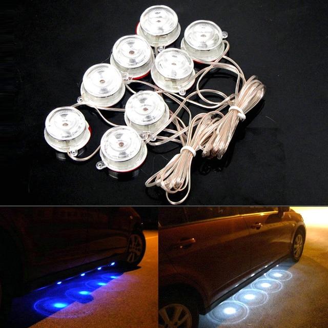 8 Stks LED Blauw Licht Auto cirkel ronde chassis verlichting Glow ...