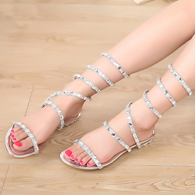 e7e45b4118c Verano mujeres sandalias cristal Sexy mujeres gladiador sandalia mujeres  botas serpiente zapatos planos mujeres zapatos romanos