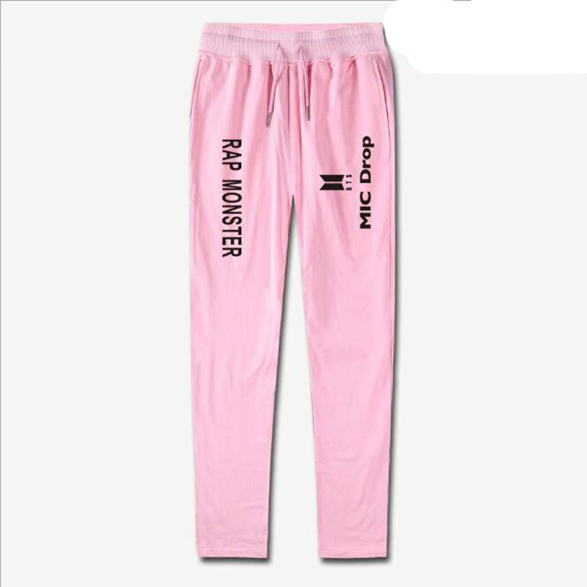 Korean Fashion KPOP BTS Cotton Harem Pants Women Pantalon Femme Letter Print Drawstring Mid Waist Joggers Trousers Sweatpants