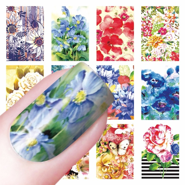 WUF 1 Sheet Optional Fashion Blooming Flower Designs DIY Decals Nails Art Water Transfer Printing Stickers For Nails Salon