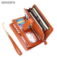 Women Split Leather Purse Lady Long Wallet Woman's Clutch SENDEFN Large Capacity Wallets Female Zipper Purses For Card/Phone