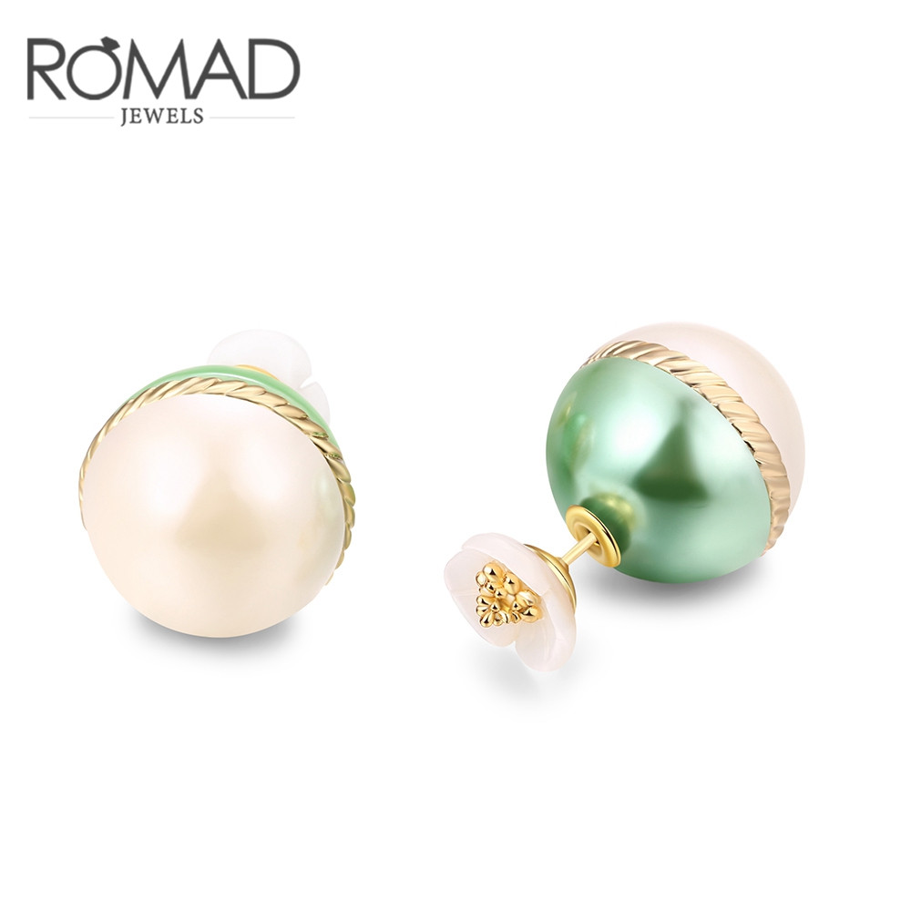 Green Flower Dots Imitation Pearl  Double Sided