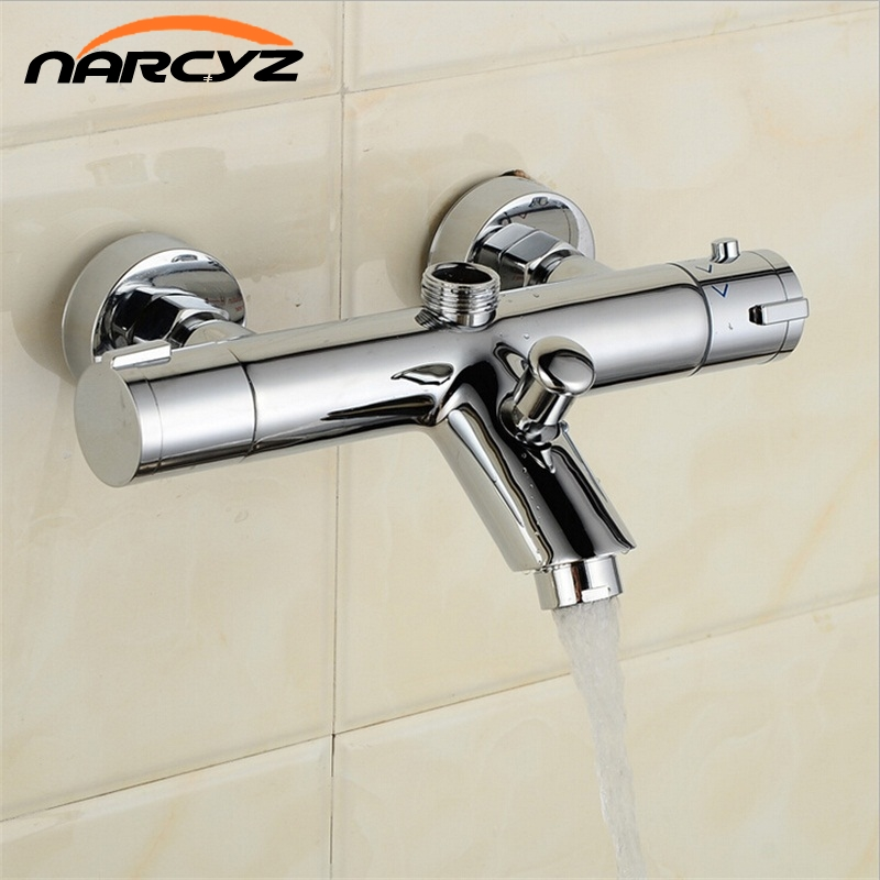 New Design Polished Chrome Solid Brass Bath Thermostatic Shower Faucet With Bend Angle AL 839B