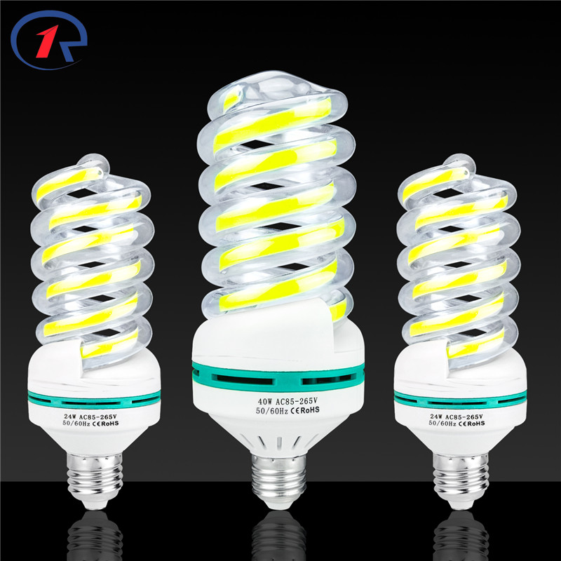 ZjRight E27 COB spiral LED Energy Saving lights 5W 9W 16W 24W 40W LED Light bulb Cafe school library factory Office Indoor lamp