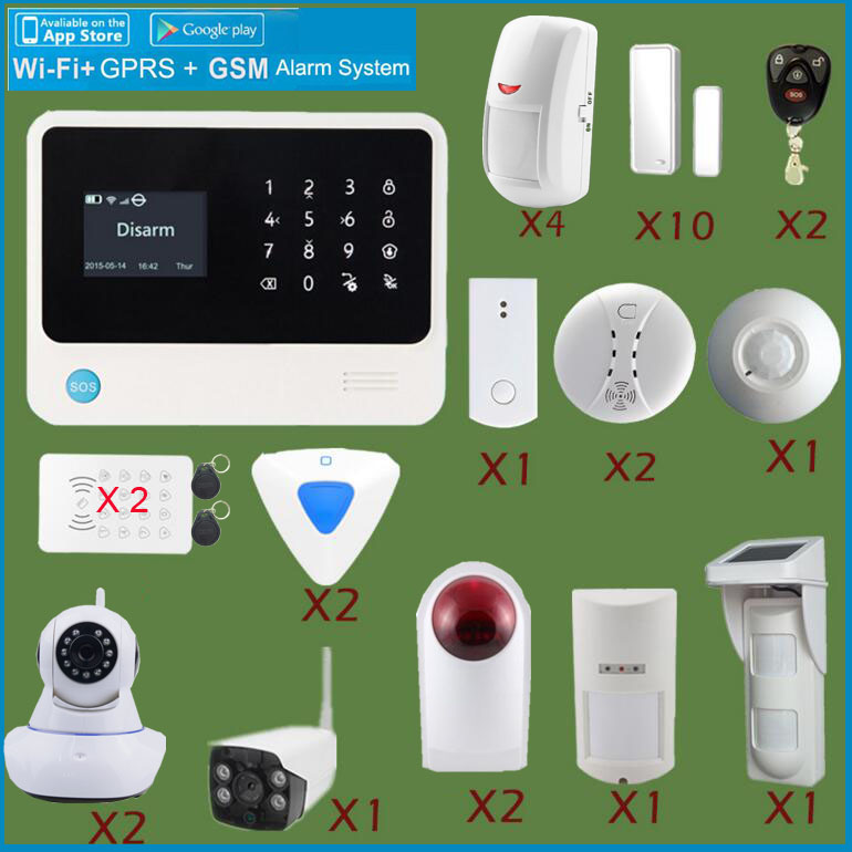 Smart IOS&Android app controlled home GSM alarm system G90B Wifi alarm system with surveillance IP camera,outdoor motion sensor smart android ios app controlled home alarm system touch keypad wifi gsm alarm system with pet immune motion detector siren horn