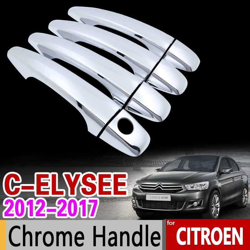for Citroen C-Elysee 2012-2017 Chrome Handle Cover Trim Set C Elysee 2013 2014 2015 2016 Car Accessories Stickers Car Styling
