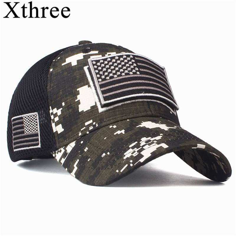Xthree High Quality USA Flag Camouflage Baseball Cap For Men Snapback Hat Army American Flag Baseball Cap Bone Trucker Gorras
