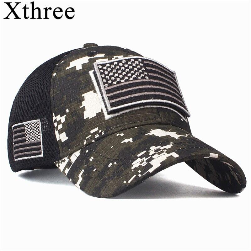 Xthree haute qualité USA drapeau Camouflage casquette de Baseball pour hommes Snapback chapeau armée drapeau américain casquette de Baseball os camionneur Gorras