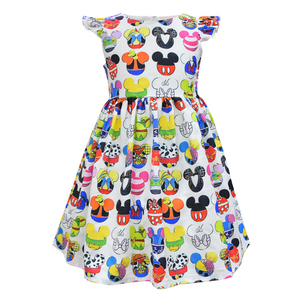 Image 5 - Unicorn Floral Mickey Dinosar Fairy Princess Print Dress Snow White Jasmine Belle Elsa Printing Clothing Flying Sleeves Frocks