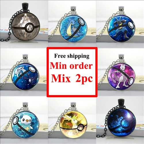 2016 Lapras Pokemon Pendant Pokemon Round Necklace Lucario Mewtwo Jewelry Glass Dome Pendant Necklace HZ1