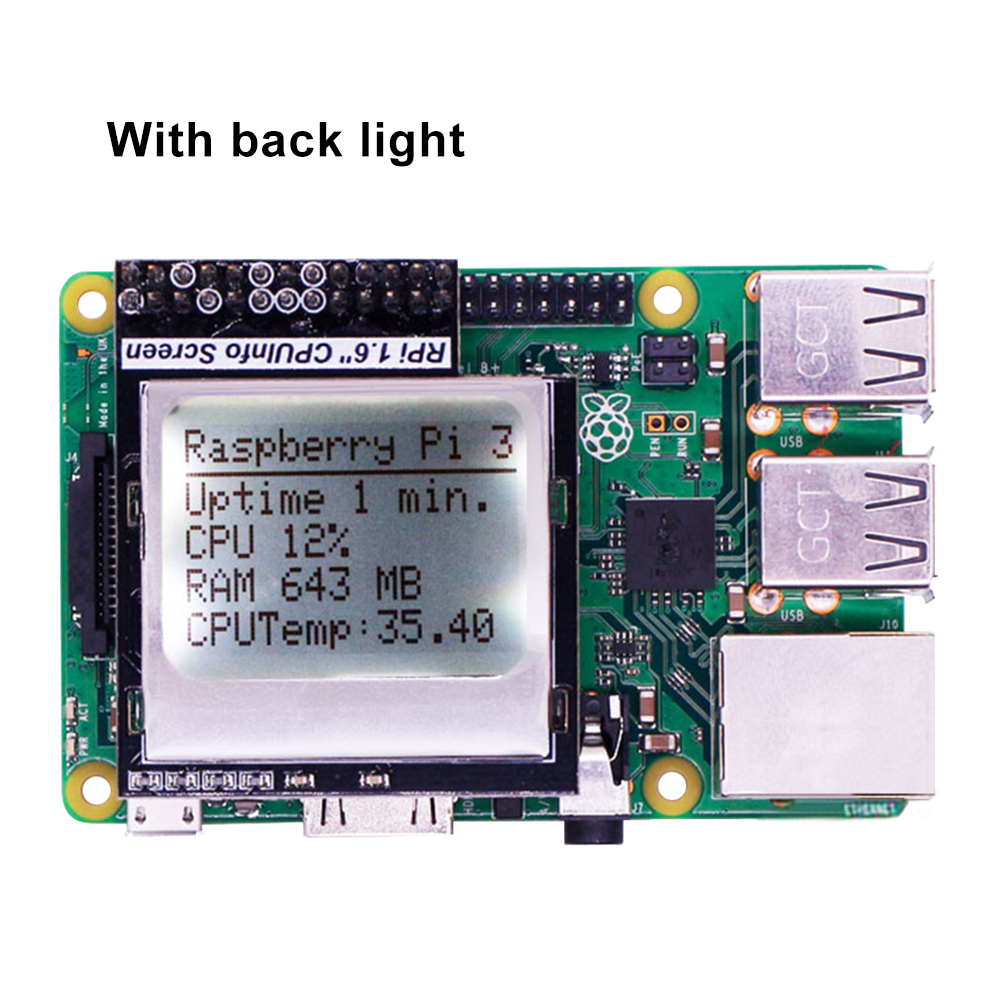 Raspberry Pi 3 CPU Info 1.6 Inch 84x48 Memory Display Module With Backlight For Raspberry Pi Zero / 1/2 / 3 /3B+