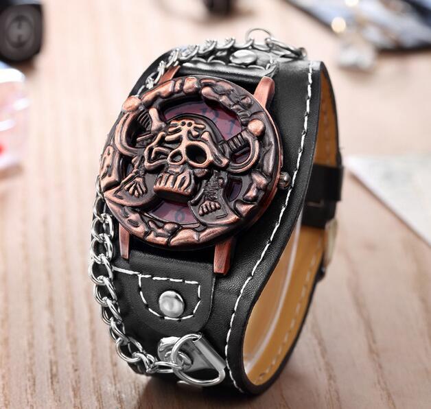 Pirates Skull Top Luxury Brand Leather Fashion Bracelet Quartz Watch Men Women Wrist Watch Wristwatches Clock Hour 1201704071 baby watch наручные zip pirates 600533