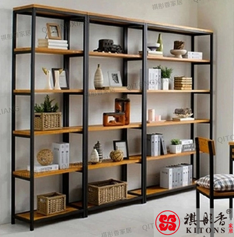 Living Room Display Storage: American Retro Wood Floor Shelf Bookcase Shelf Bookcase