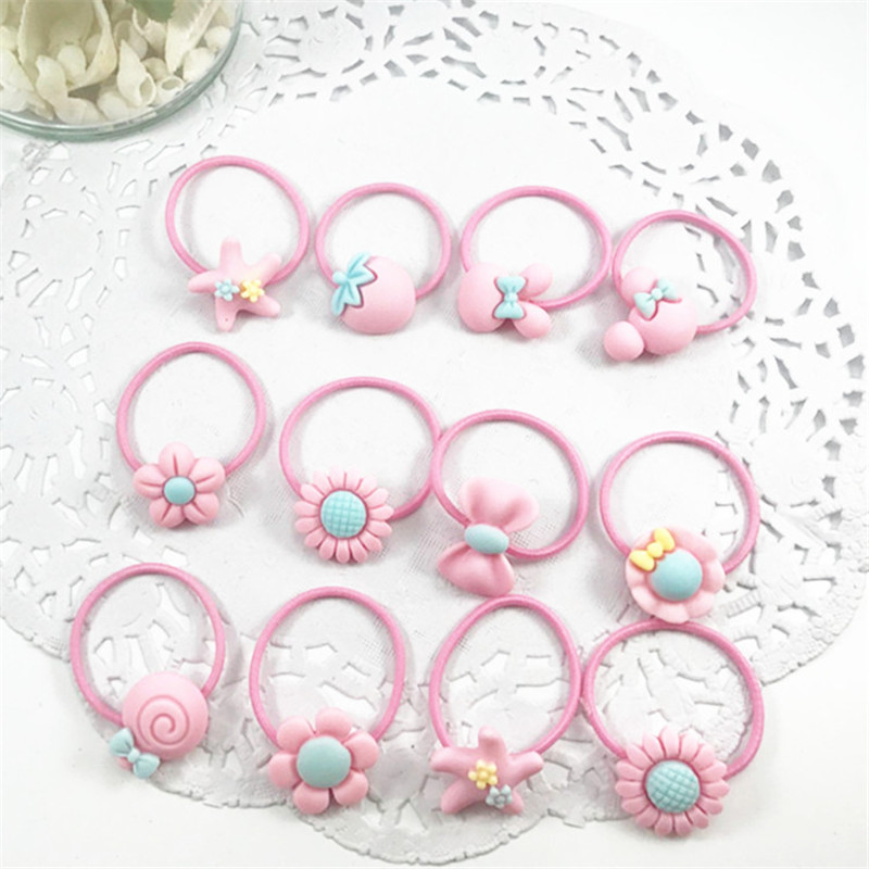 New 50Pcs Set Fashion Headband Flower Bow Cartoon Hair Clip Children Pink Hair Accessories Elastic Band Baby Girl Gift Hairband in Hair Accessories from Mother Kids