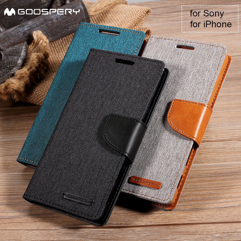 MERCURY GOOSPERY for iPhone X 6s 6 7 8 Plus 5 5s SE 4S 4 Cover Wallet Leather Case for Sony Xperia XA Z5 Dual Compact Premium X