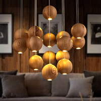 Solid wood modern pendant light Chinese Japanese Nordic creative minimalist living room dining wood ball wooden pendant lamp