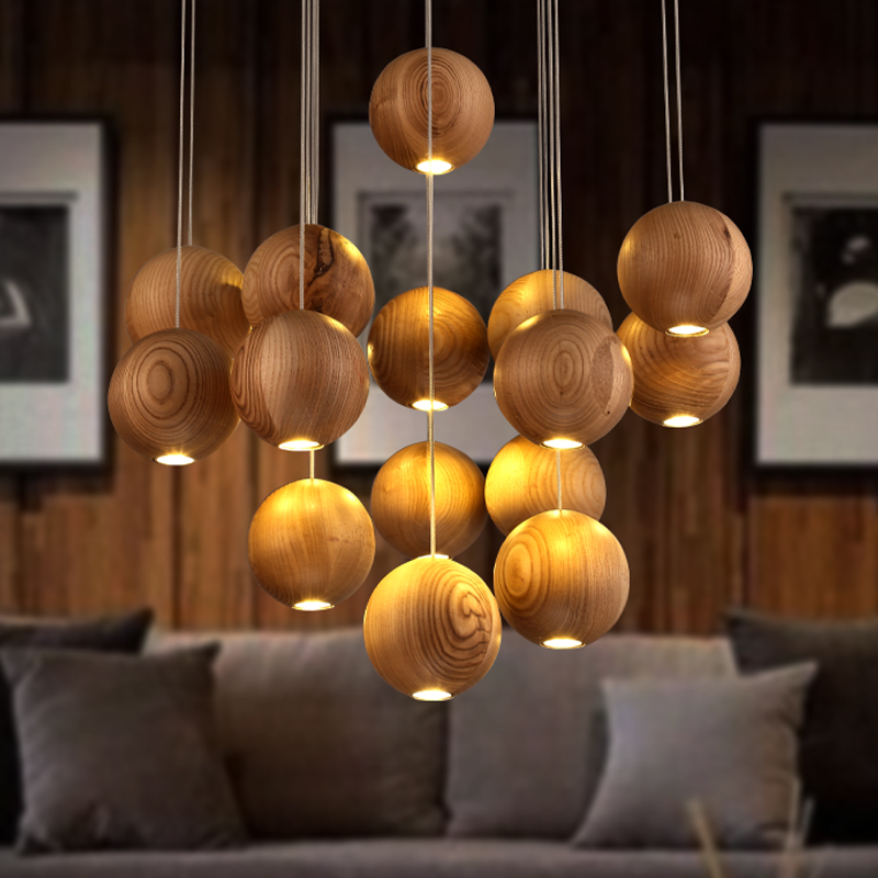Solid wood modern pendant light Chinese Japanese Nordic creative minimalist living room dining wood ball wooden pendant lamp все цены