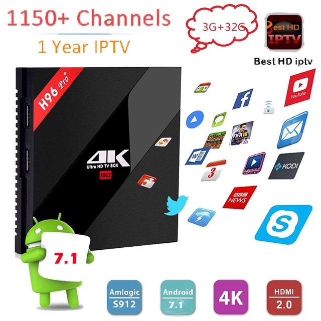 1 Year Europe Italy Arabic IPTV 1150+ H96 Pro+Android 7.1 Smart TV Box 3GB/32GB Amlogic S912 newest WiFi H.265 4K Media player