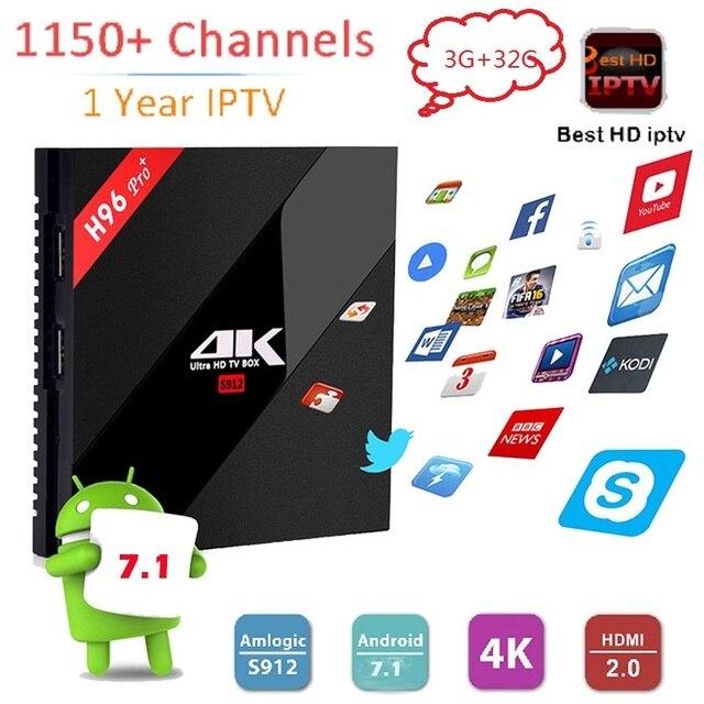 1 سنة أوروبا إيطاليا العربية iptv 1150 + H96 برو + الروبوت 7.1 الذكية tv box 3 جيجابايت/32 جيجابايت S912 أحدث wifi H.265 amlogic 4 كيلو مشغل الوسائط
