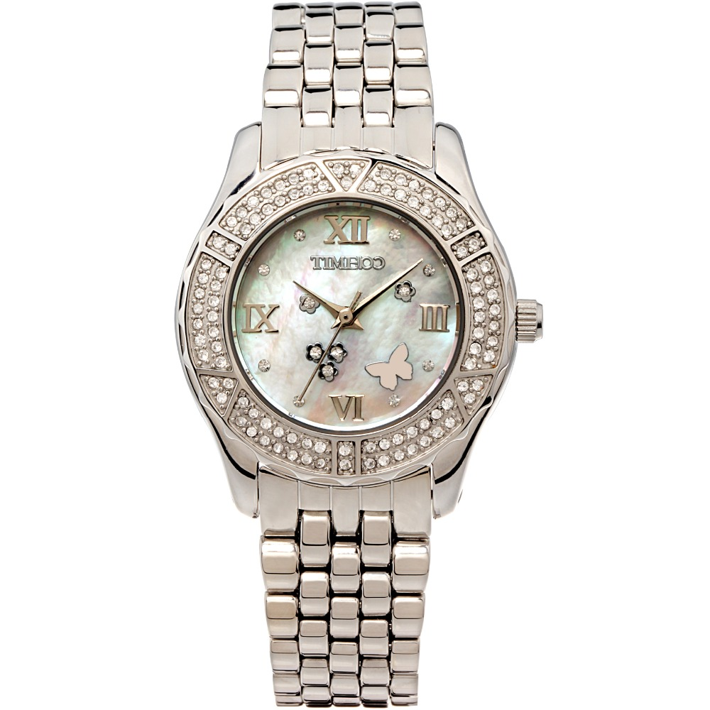 TIME100 Women Watches Stainless Steel Strap Analog Diamond Shell Dial Ladies Quartz Watch Dress Wrist Watches Relogio Masculino time100 vintage women bracelet watch analog quartz rhinestone clasp alloy strap dress wrist watches for women relojes de marca