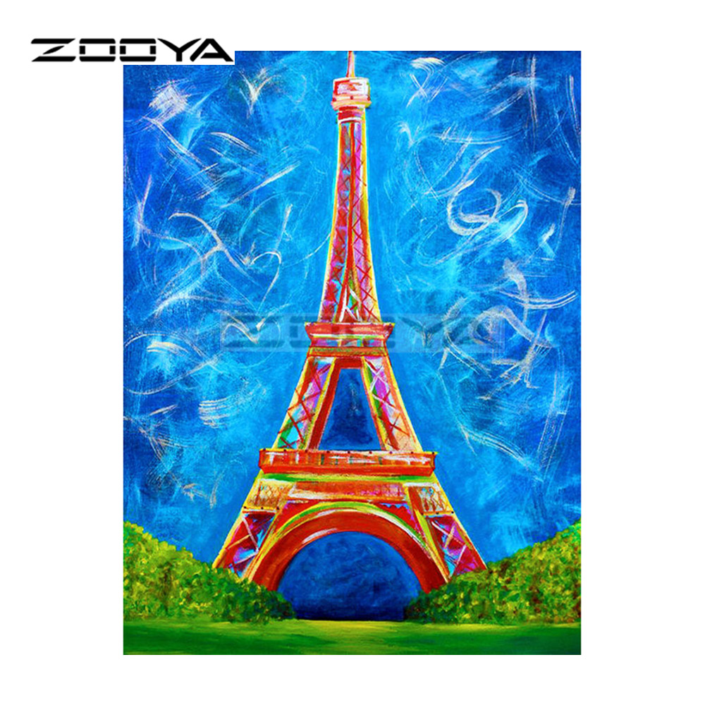 ZOOYA 5D DIY Diamond Embroidery Eiffel Tower Color Landscape Diamond Painting Cross Stitch Full Drill Mosaic Decoration BK425 in Diamond Painting Cross Stitch from Home Garden