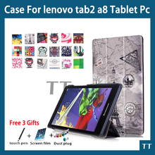 "Case para lenovo tab 3 8 tb3 850f/tb3-850m cuero de la pu cubierta case para lenovo tab 2 a8-50 a8-50f a8-50lc 8 ""Tablet PC + free 3 regalos"