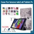 "Caso para lenovo tab 3 8 tb3 850f/tb3-850m couro pu tampa do caso para lenovo tab 2 a8-50 a8-50f a8-50lc 8 ""Tablet PC + free 3 presentes"
