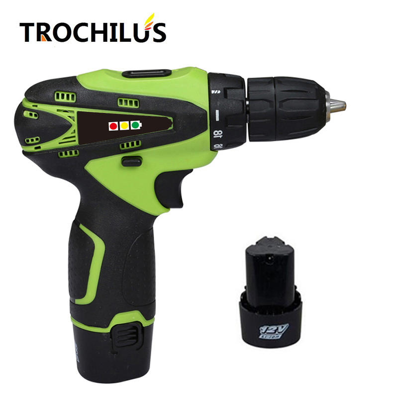 12V cordless Screwdriver Multifunction Power Tool Battery Screwdriver Mini Electric Screwdriver with Lithium Battery * 2 makita 18v lithium battery series tool cordless impact screwdriver 3000ipm 2300rpm