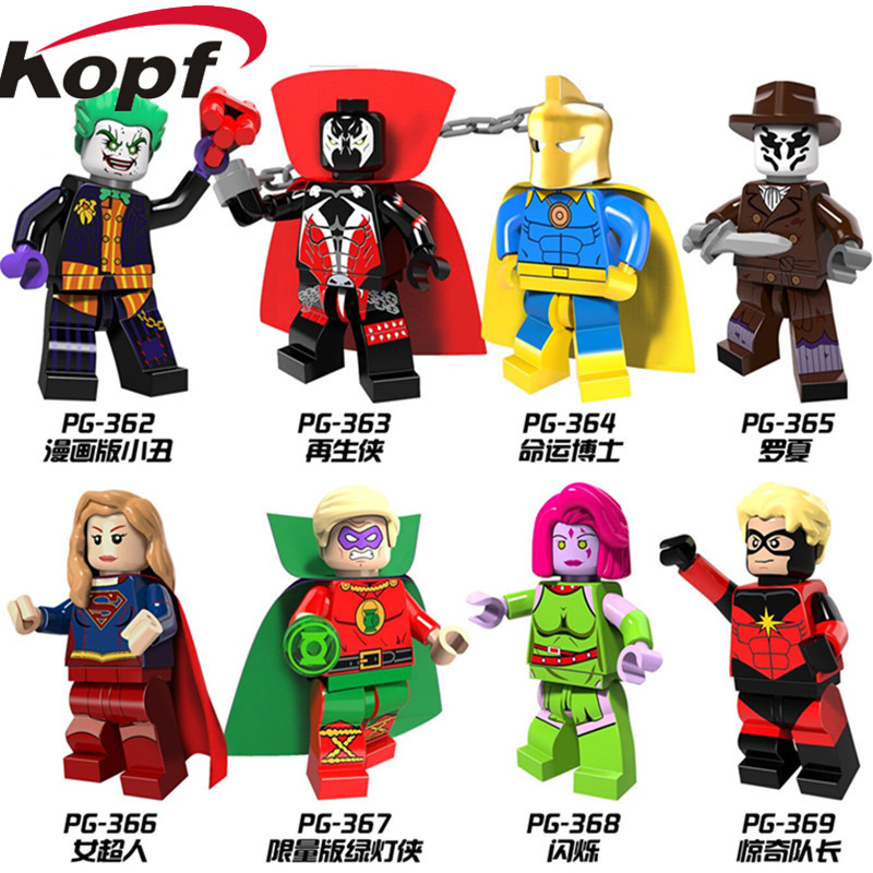 Single Sale Super Heroes Blink Mar-Vell Comic Spawn Joker Rorschach Green Lantern Building Blocks Best Children Gift Toys PG8085 super heroes single sale the villain of yellow lantern skeletor heman he man he man building blocks toys for children gift kf921