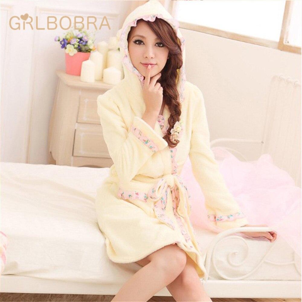 Women's Nightgown Winter Thicken Hooded Lace Side Robe Sleepwear