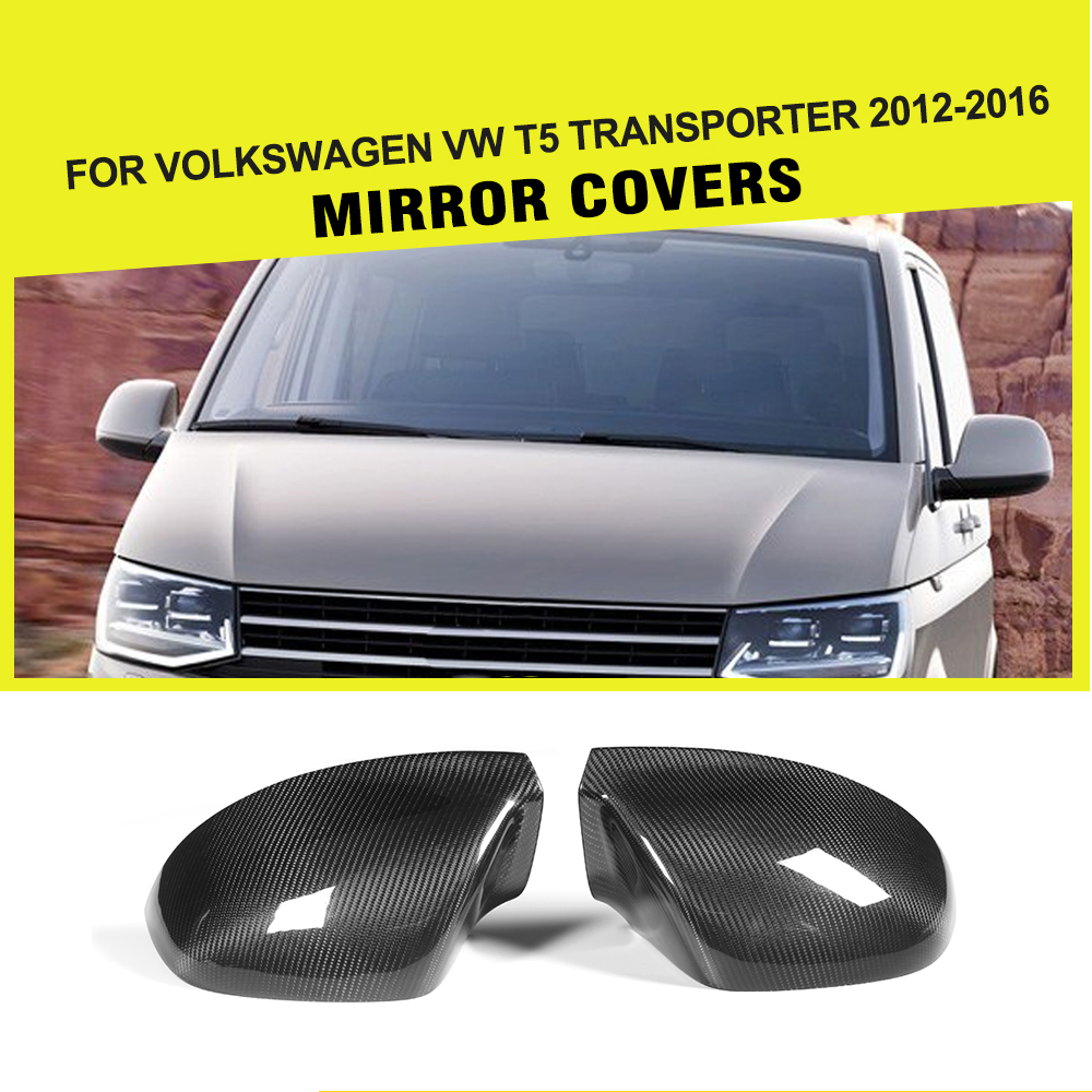 Carbon Fiber Car Rear Review Mirror Cover Caps for Volkswagen VW T5 Transporter 2012 - 2016 for volkswagen vw golf7 mk7 carbon fiber rear side view caps mirror cover car replacement