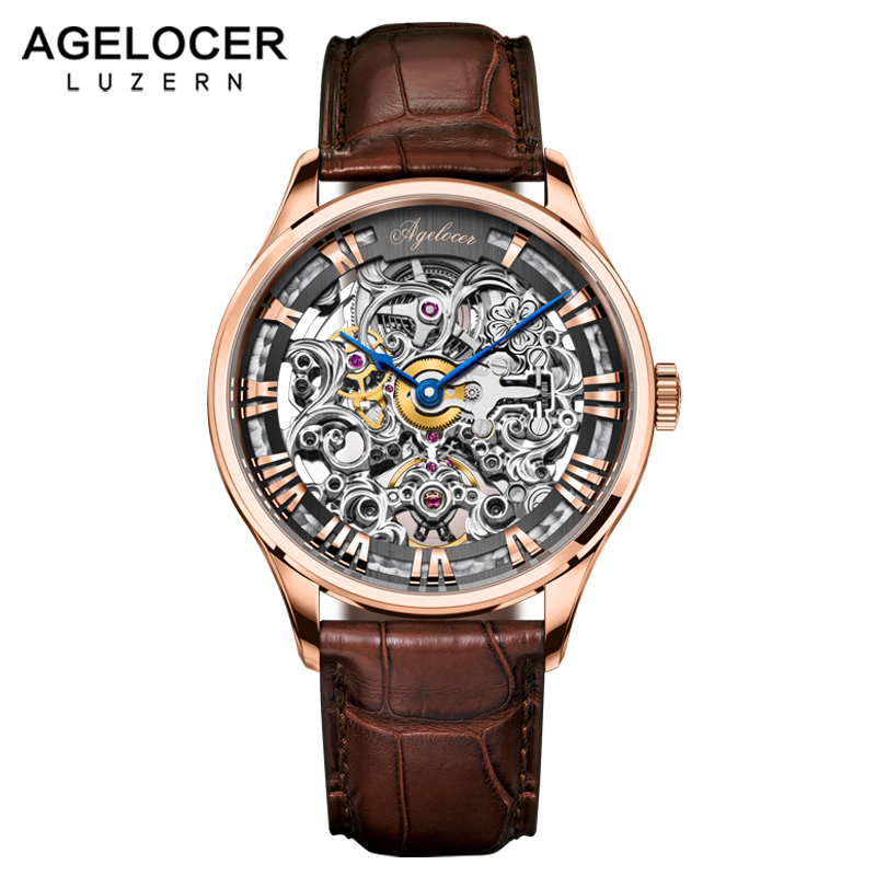 AGELOCER Skeleton Watch Transparent Roman Number Watches Men Luxury Brand Mechanical Men 40mm Watch Steampunk Wristwatches fashion winner men luxury brand roman number hand wind leather skeleton military watch automatic mechanical wristwatches gift