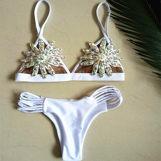 5efa77cae1 Lace Bikini Diamond Swimsuit Crystal Women Swimwear Nude Bikinis Brazilian  Rhinestone Beachwear push up Bikini 2018