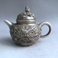 China Antiques Tibetan silver hand carved Chinese Zodiac dragon teapot wine pot