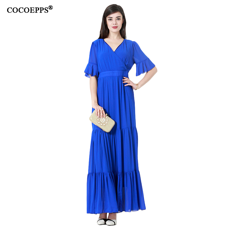 6xl 7xl Vintage Bleu Plus La Taille Femmes Robe longue grande Grande Taille 2018 Robes Élégant Flare Manches Maxi Robe De Mode vêtements