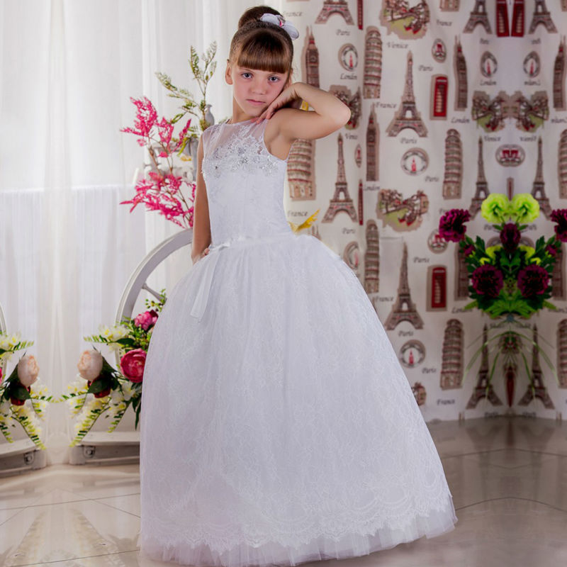 Sleeveless White Flower Girls Dresses for Wedding Lace Holy Communion Dresses Tulle Kids A-Line Pageant Dresses Girls Size 14