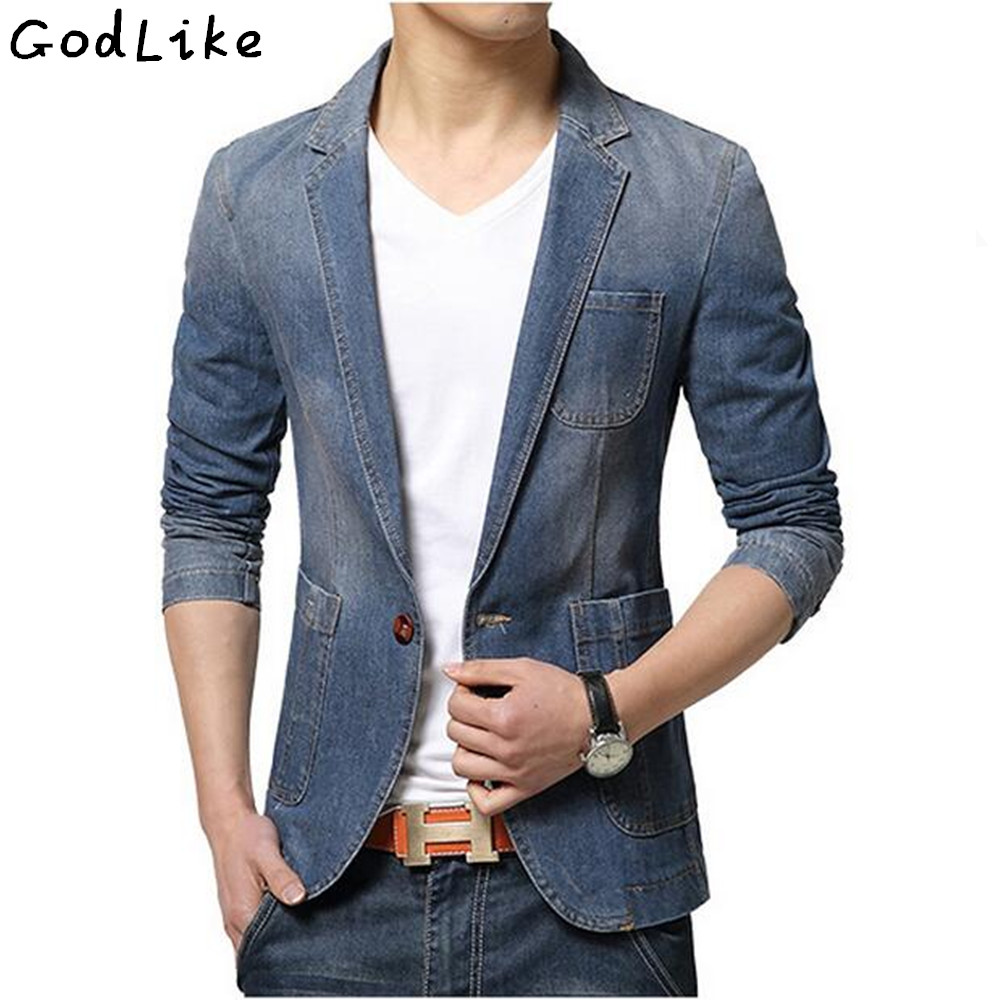 2019 New autumn Fashion Denim Casual Jacket Men Cotton Suit Jacket  Blue Coat  Outerwear Denim Plus Size 3XL Jean Blazer