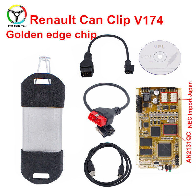 2018 Newest Renault Can Clip V174 Full Chip Gold AN2131QC CAN Clip OBD2 Diagnostic Tool For Renault Diagnostic Interface Scanner 2018 newest v178 for renault can clip full chip gold cypress an2135sc 2136sc chip nec relay obd2 interface diagnostic scanner