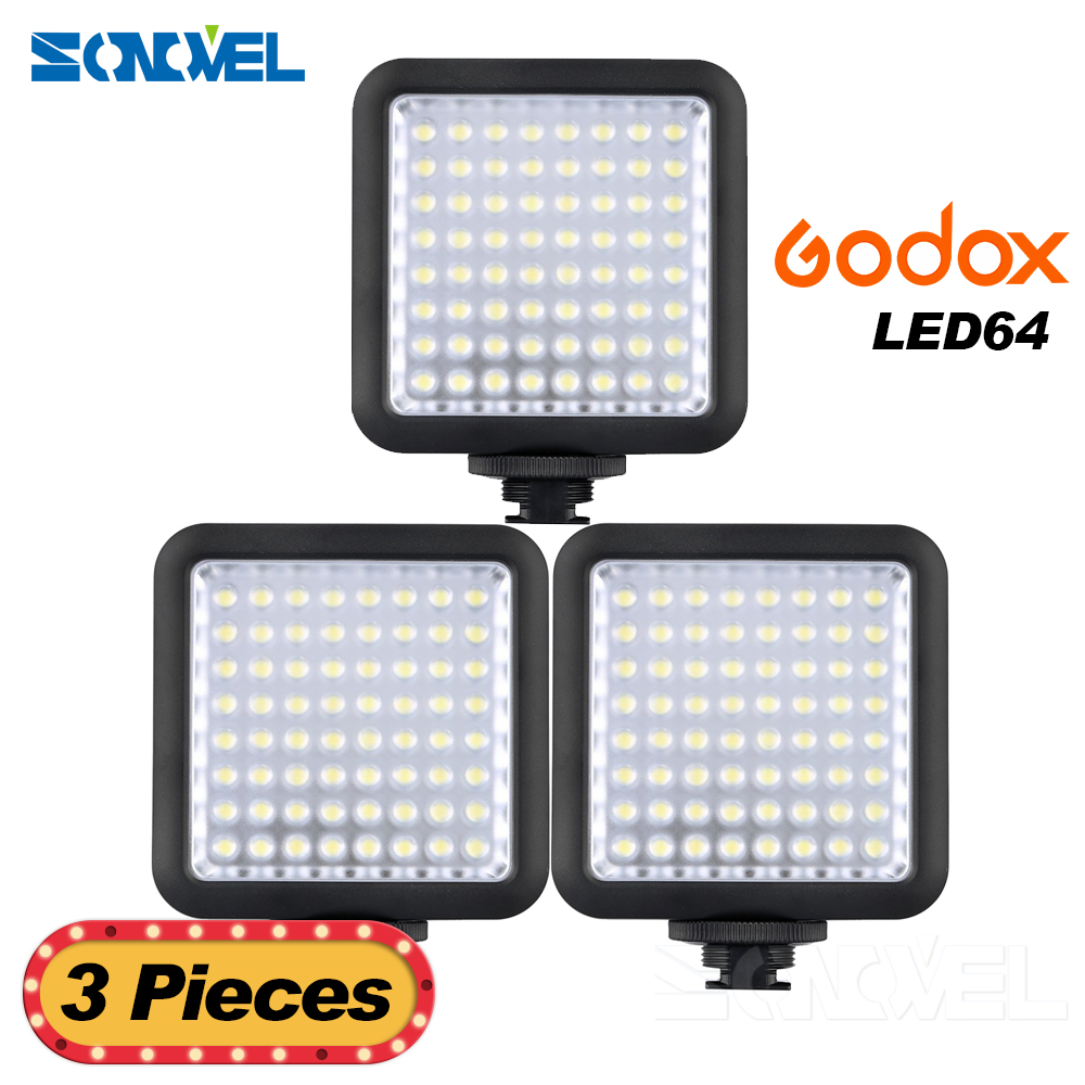 Nex 3Pcs Pro Camera Led Lights Godox LED64 Video LED Lamp Panel Macrophotography for Canon Nikon Sony Camcorder Camera godox led 308y 308 leds professional led video 3300k light with remote control for canon nikon camera dv camcorder