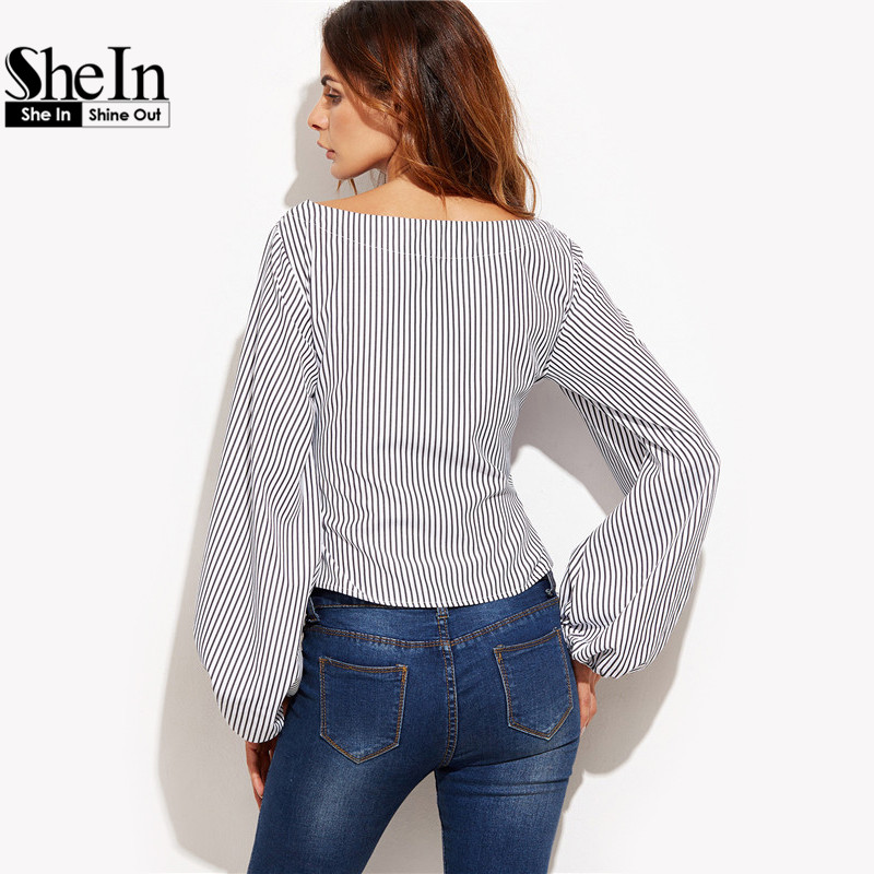 Shein Women Blouses Black And White Striped Long Sleeve