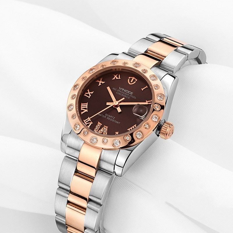 где купить VINOCE Hot Elegant Steel Band Ladies Wristwatches Simple Design Women Quartz Watch rose Gold Relogio Feminino With Gift Box по лучшей цене
