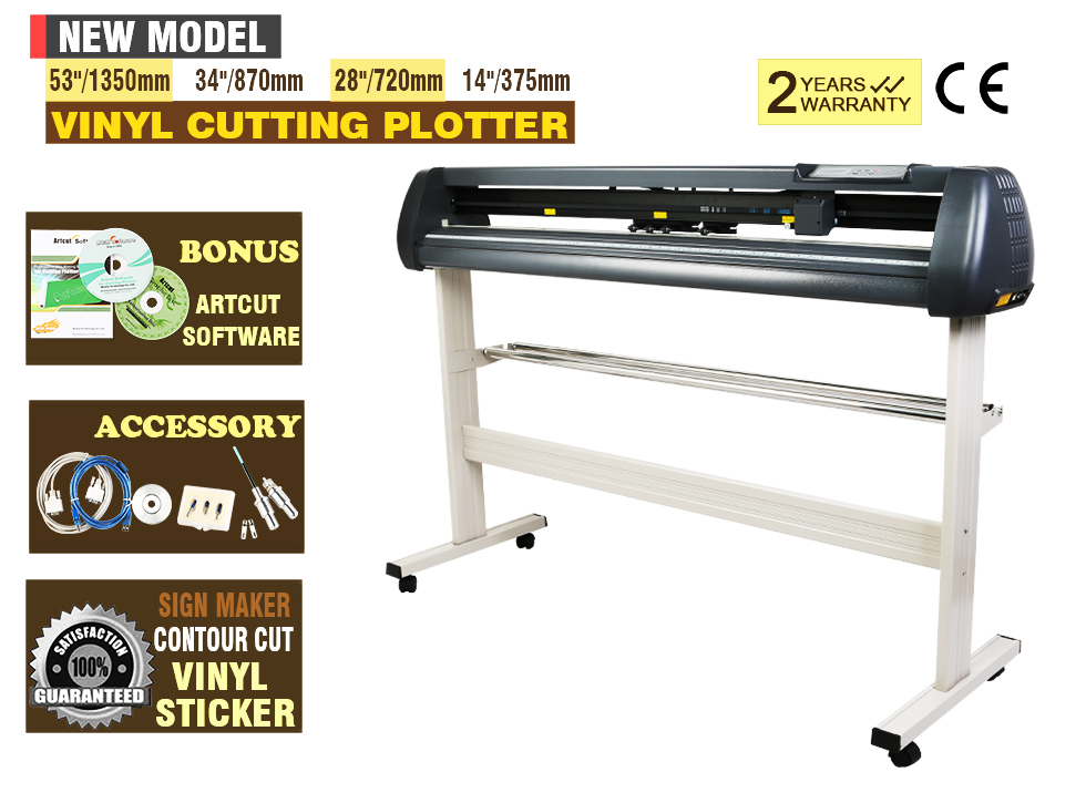 720MM Vinyl Cutting Plotter Artcut Software Contour Cutting New Model Serial Port & USB2.0 28inch