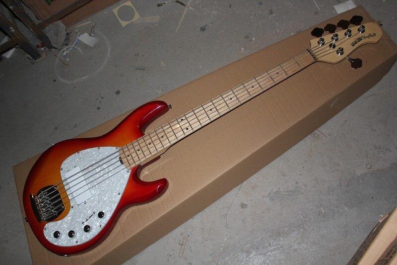 Высокое качество Клен Накладка Музыка StingRay человека 5 Cherry электрический бас с 9 В Батарея схема усилителя